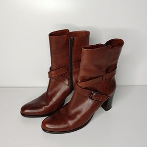 Sesto Meucci Leather Tall Ankle Heeled Boots 8.5M